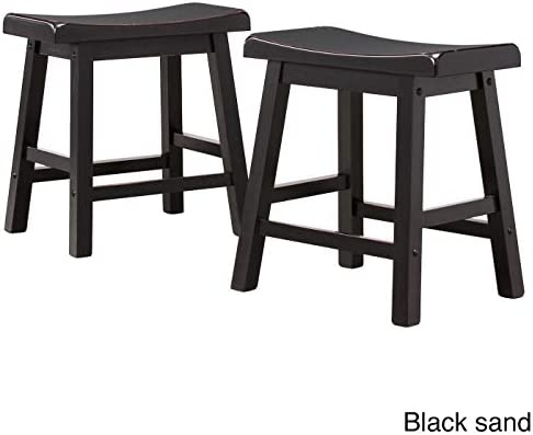 Inspire Q Salvador Saddle Back 18-inch Backless Stool Set of 2 by Bold Black Painted