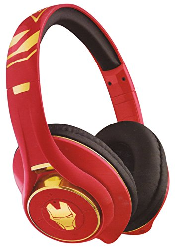 MARVEL Iron Man iHome eKids BlueTooth Headphones Rechargeable Mic+Controls