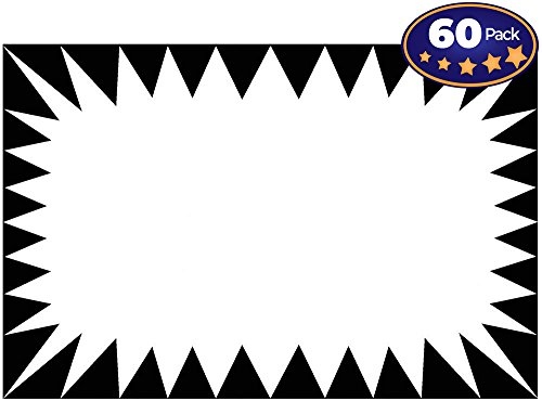 Retail Genius Price Burst 60 White Sign Pack. Boost Sales with Bright Display Tags. Durable, Easy to Write On Star Cards Are For Yard, Estate & Garage Sale, Fundraiser, Store, Business & Flea Market. (Best Price Retail Store)