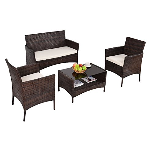Patio Furniture Sets Clearance Conversation 4 Piece Waterproof Outdoors Wicker Beige
