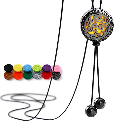 RoyAroma Aromatherapy Essential Oil Necklace Stainless Steel Locket with 12PCS Felt Pads, 19.7'' Adjustable Chain Stainless Steel Perfume Necklace -Black ()