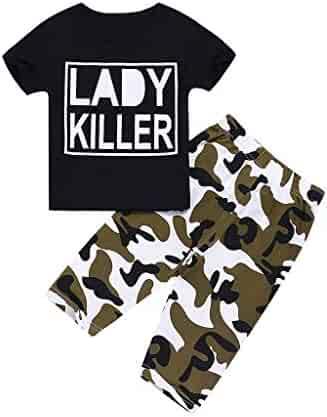 d4482304e Yikey Boy Set, Toddler Baby Boys Letter Print T-Shirt Tops+Camouflage Pants