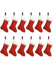 "HOOPE 12 Pcs Christmas Stockings 15"" Xmas Fireplace Socks Candy Gift Bag Santa Christmas Tree Hanging Decoration,Classic Red and White, DIY Allowed Basic Felt Stockings"