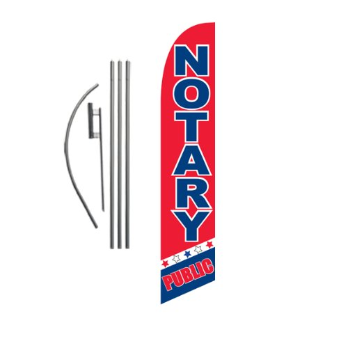 Notary Public Advertising Feather Banner Swooper Flag Sign with Flag Pole Kit and Ground Stake