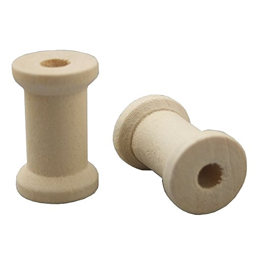 - Bluemoona 50 PCS - Natural Wood Empty Thread Spools Cylinder Craft Round Ends Bobbins for Ribbon lace Line