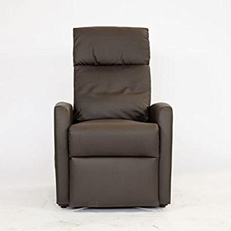 Sill/ón relax reclinable el/èctrico con levanta personas y mando Revestimiento en ecopiel color marr/ón Modelo Helsinki