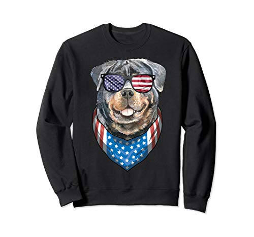 - Fourth of July Rottie American Flag July 4th Rottweiler Dog Sweatshirt