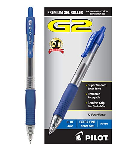 Pilot G2 Retractable Premium Gel Ink Roller Ball Pens Extra Fine (.5) Dozen Box Blue ; Retractable, Refillable & Premium Comfort Grip; Smooth Lines to End of the Page, America's #1 Selling Pen Brand