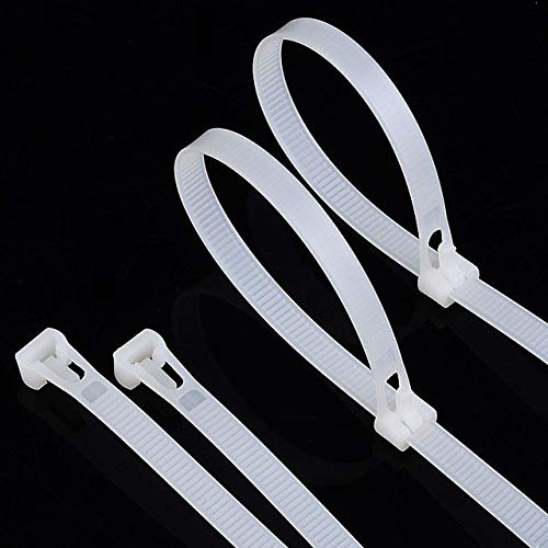 WHITE 100pcs 8  300 Releasable White Plastic Nylon Cable Ties Wire Tie Plastic Strap Zip Ties for Computer Wire Management  (color  White)