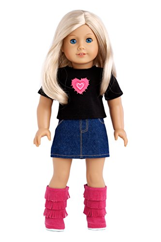 Rock Star - 3 piece outfit - t-shirt, denim skirt and hot pink boots - 18 inch Doll Clothes (doll not included) -