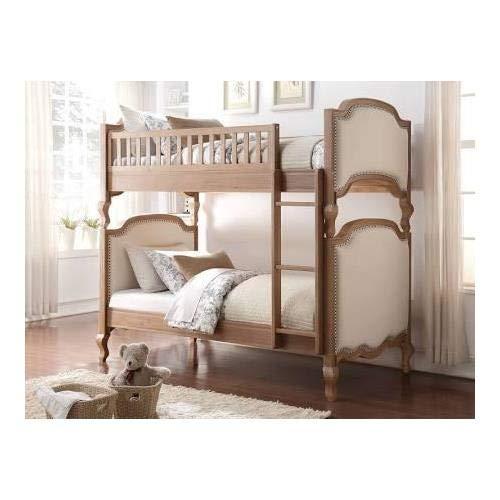 (Acme Furniture 37650 Charlton Twin Over Twin Bunk Bed, Twin/Twin, Cream Linen & Salvage Oak)