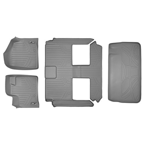 - SMARTLINER Floor Mats 3 Rows and Cargo Liner Behind 3rd Row Set Grey for 2008-2018 Caravan / Town & Country (Stow'n Go Only)