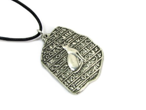 Creative Ventures Jewelry Egyptian Goddess Bastet Pewter Pendant on Cord Necklace, The Egyptian Collection