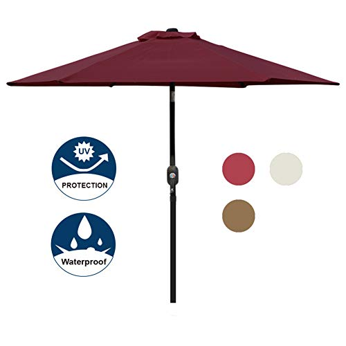 Blissun 7.5 ft Patio Umbrella, Yard Umbrella Push Button Tilt Crank(Red) by Blissun (Image #6)