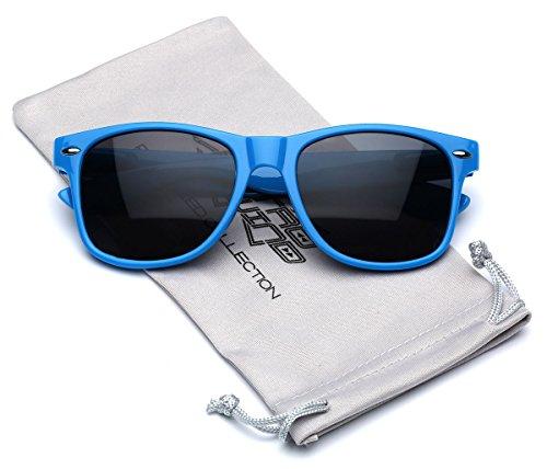 Classic Retro Fashion Sunglasses - Neon Frame with Dark Black (Neon Blue Sunglasses)