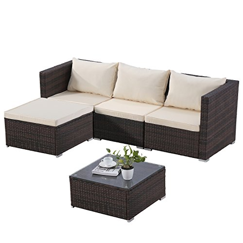 mecor Outdoor Patio Furniture Set, 5 Piece Rattan Wicker Sectional Sofa Set with Cushions&Glass Coffee Table, Garden,Backyard,Lawn Furniture Black Review