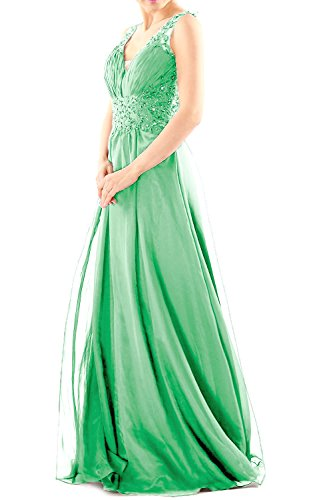 Women Lace Chiffon V Gown Prom Long Formal Neck Evening Party MACloth Dress Minze Ball 1HZfqf