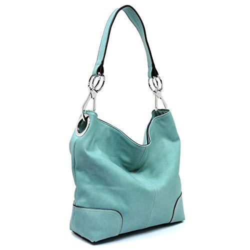 (Bagblaze Bucket Style Hobo Shoulder Bag with Big Snap Hook Hardware)