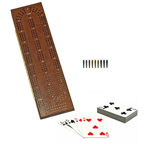 WE Games Cabinet Cribbage Set - Solid Maple Wood with Medium Stain Continuous 3 Track Board with Easy Grip Pegs, Cards and Storage Area (Made in USA)