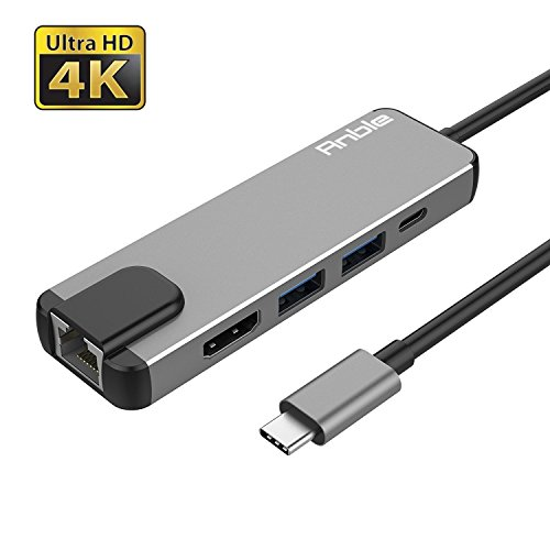 USB C Hub Adapter, Anble 5-in-1 USB Type C(Thunderbolt 3) Converter with HDMI 4K, 2 USB 3.0 Ports, USB C Power Charging, 1000M Gigabit Ethernet for MacBook Pro 2016/2017, Google Chromebook - Grey by Anble