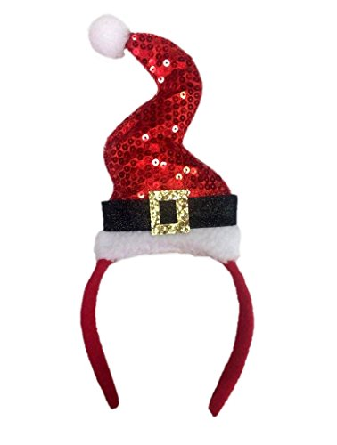 Forum Novelties, Sequin Santa Squiggle Hat Headband, Multi-Color -