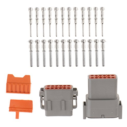 MagiDeal 1 Set 20A Waterproof 12Pins Sealed Electrical Wire Connector Plug Terminals: