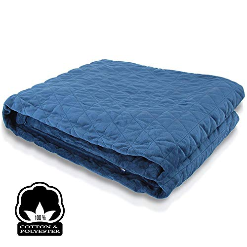 Cheap 20lb Quilted Weighted Blanket Queen - Blue Adult 60 x 80 Size Cozy 100% Quilted Cotton Heavy Weight Blanket and Cover Set - SereneLife SLHVBLKT20 Black Friday & Cyber Monday 2019