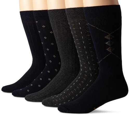 Dockers Men's Classics Dress Dobby Crew Socks (5 & 10 Packs), Navy Assorted), Shoe Size: 6-12