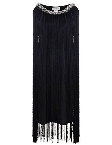 Anna-Kaci Women's Chain Neck Swing Ombre Draping Tassel Flapper Gatsby Dress, Black, X-Large
