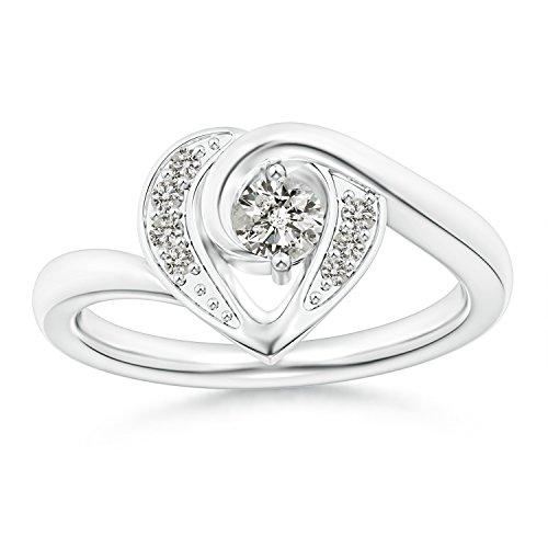 2-Prong Set Solitaire Diamond Swirl Heart Ring for Women in 14K White Gold (Color: K, Clarity: I3) - 14k Wg Diamond Swirl Ring