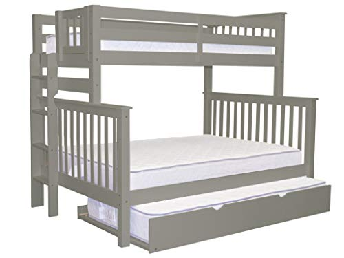 (Bedz King Bunk Beds Twin over Full Mission Style with End Ladder and a Twin Trundle, Gray)