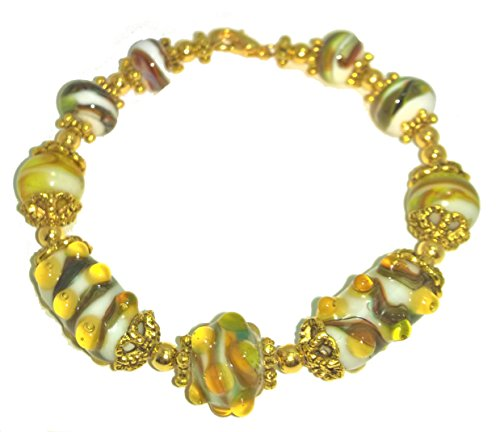 Yellow and Brown Glass Lampwork Bead Bracelet