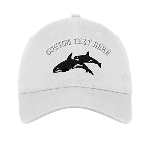 d48ae3275043b1 ... For All Sizes Hats. Comments. Custom Text Embroidered Killer Whales  Unisex Adult Flat Solid Buckle Cotton 6 Panel Unstructured Baseball Hat