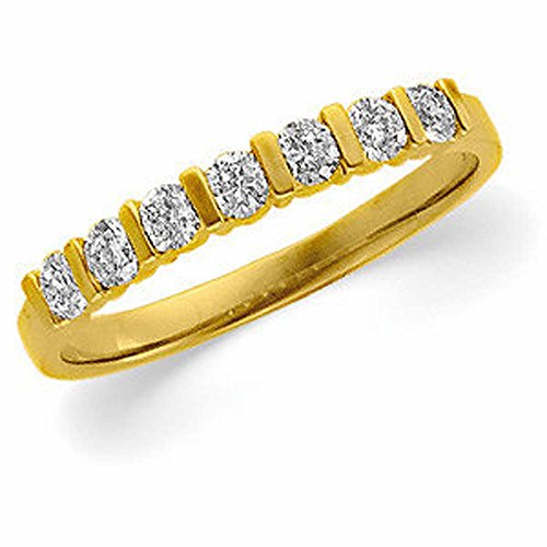 Bar Channel Diamond Band - 1/3 CTTW Diamond Bar Channel Anniversary Band in 14k Yellow Gold (Size 6 )