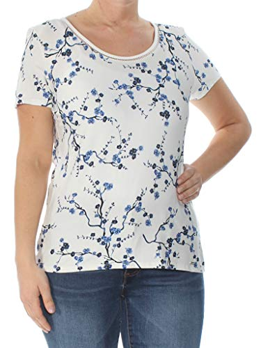 2125e146f0fd9 Tommy Hilfiger  39 Womens New 1099 Blue Floral Short Sleeve T-Shirt Top L B