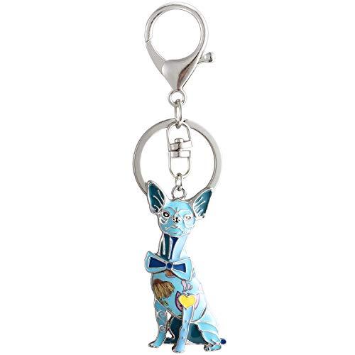 Luckeyui Cute Chihuahua Gift Keychain for Women Blue Enamel Dog Charm - 3d Charm Dog Enamel