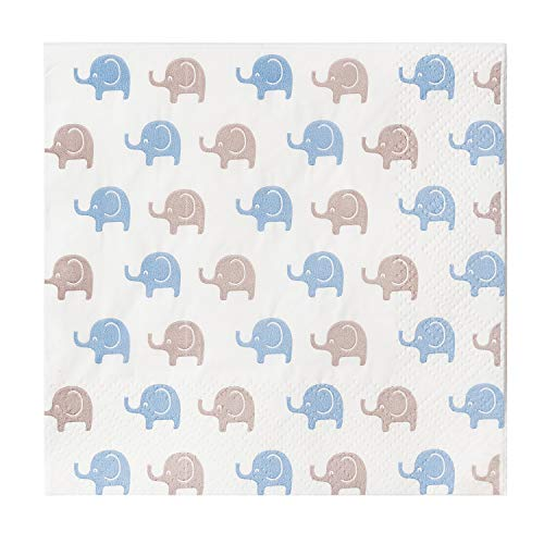 - Crisky Baby Shower Napkins | Decorative baby blue and Grey Baby Elephant Paper Napkins kids Birthday Gender Reveal Party Decorations Dessert Beverage Buffet Supplies for Baby Boy 100 Count