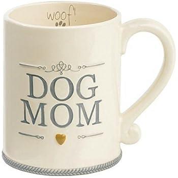 """Dog Mom"" Ceramic Coffee Mug Cup Woof Animal Pet Lover Gift Grasslands Road"