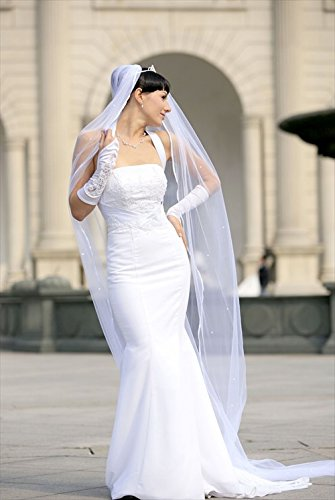 - 2T Ivory Cathedral Rattail Scattered Rhinestone Wedding Bridal Veil Detachable