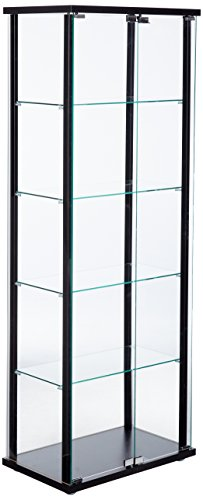 5-Shelf Glass Curio Cabinet Black and ()