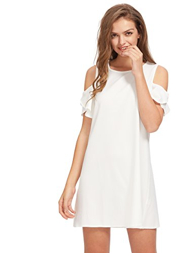 Milumia Women's Summer Cold Shoulder Ruffle Sleeves Shift Dress White M