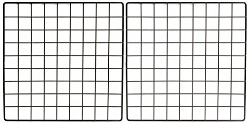Set of 2 Mini Black Grid Panel 14 Inches W x 14 Inches H 1.5 Inch Squares Grid Panel Vinyl Dipped Black
