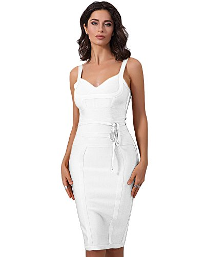 Maketina Women's Spaghetti Strap Bodycon Party Bandage Dress with Belt Detail