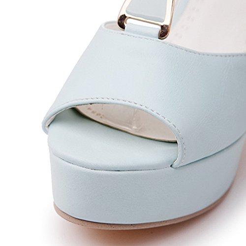 AalarDom Mujeres Plataforma Material Suave Sólido Hebilla Peep Sandalia Azul