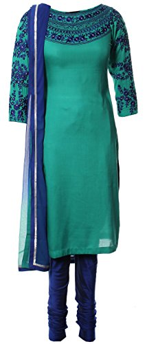 AzraJamil-Floral-Georgette-Embroidered-Churidar-Suit-Blue-Green
