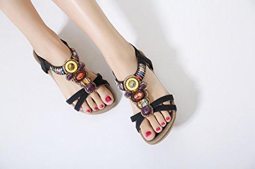D'été Les Sandales Dames Plates Femmes Noir Beeded Bohemian Chaussures pour Ruiren qtY8p