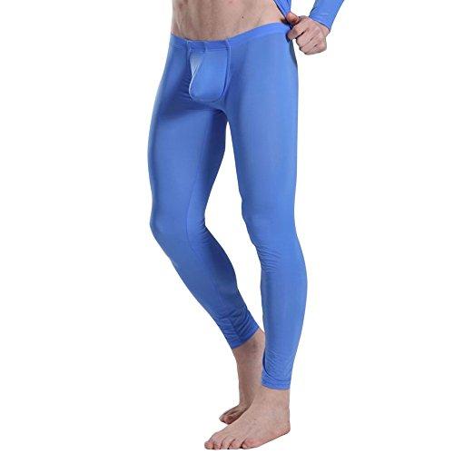 (iEFiEL Mens Mesh See Through Home Lounge Pants Nightwear (XL, Silk Blue))