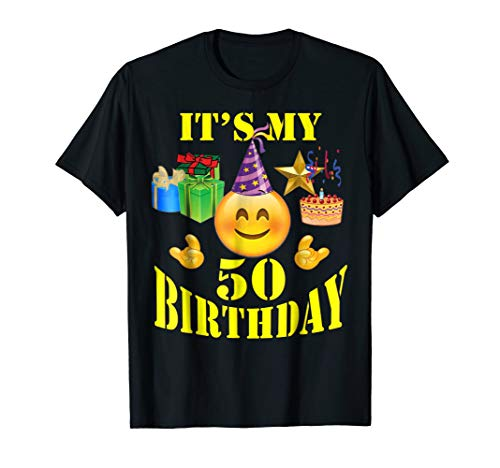 Funny Emoji Shirt It's My 50th Birthday 50 Years Old -