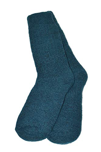 Invisible World Women's Alpaca Socks Men's Thermal Winter Gear Arctic Blue S/M