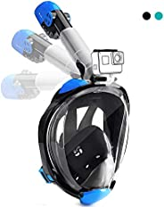 Snorkel Mask Full Face,DasMeer Panoramic View 180 Easy Breathing Mask with Detachable Camera Mount and Long Sn